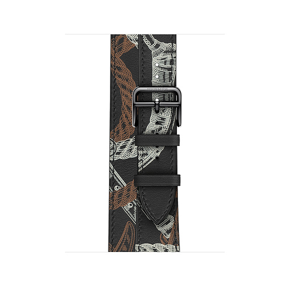 Dây Hermès - 40mm Noir Swift Leather Allover Print Double Tour ( Chính hãng )