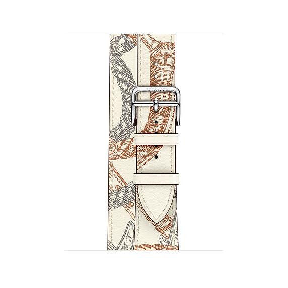 Dây Hermès - 40mm Blanc Swift Leather Allover Print Double Tour ( Chính hãng )