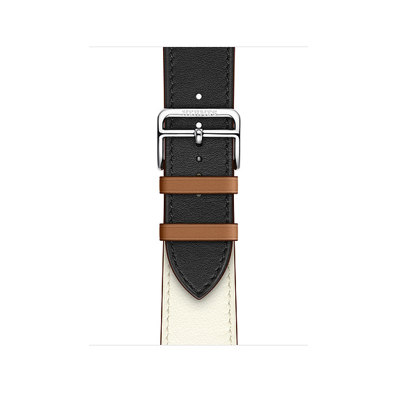 Dây Hermès - 40mm Noir/Blanc/Gold Swift Leather Single Tour ( Chính hãng )