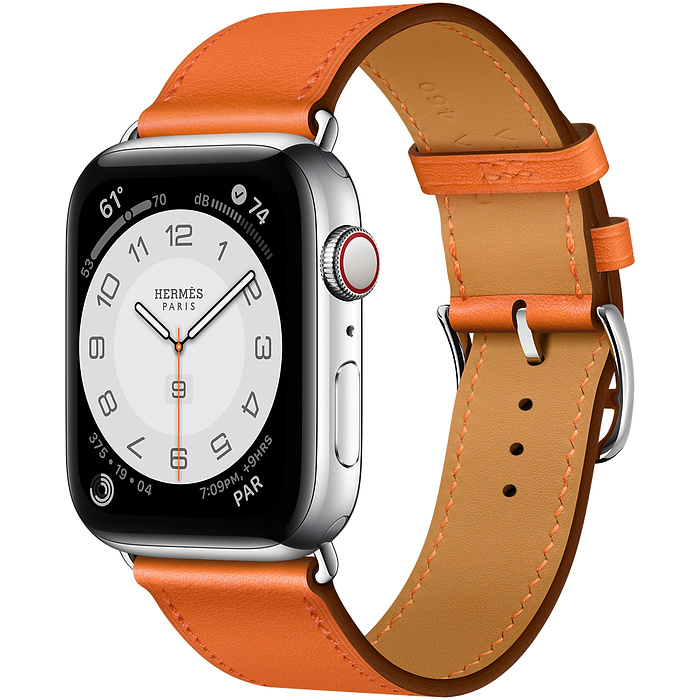 Apple Watch 6 Hermès 44mm Silver Stainless Steel Case with Single Tour  Orange