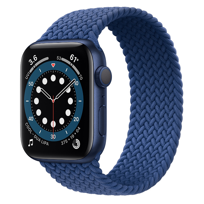 Apple Watch 6 GPS 44mm Blue / Braided Solo Loop Atlantic Blue