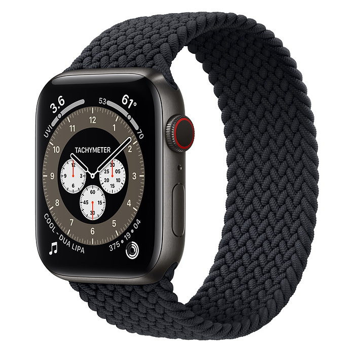 Apple Watch 6 44mm Space Black Titanium Case with Braided Solo Loop