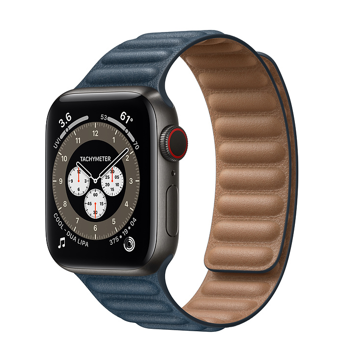 Apple Watch 6 40mm Space Black Titanium Case with Leather Link Baltic Blue