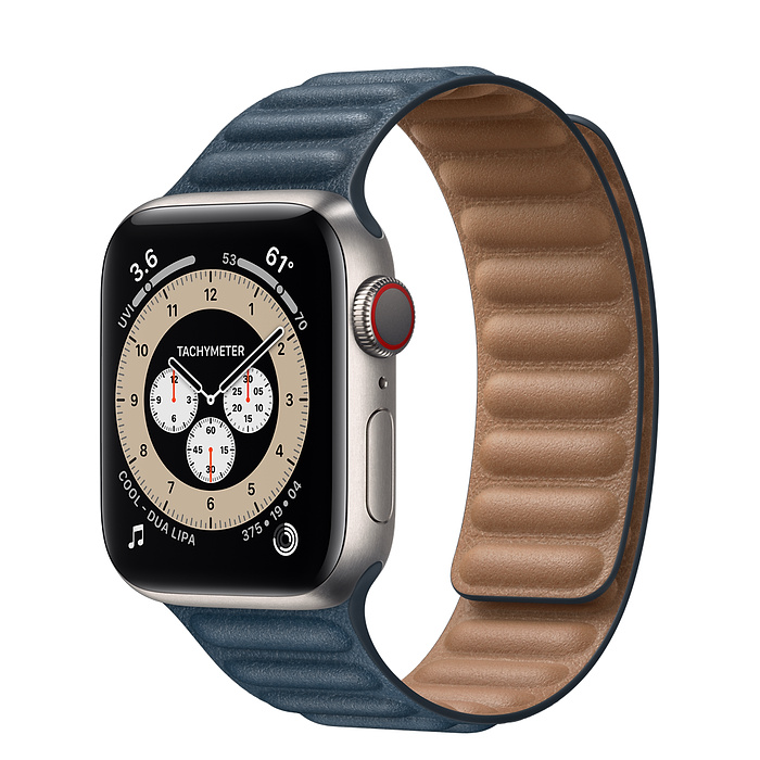 Apple Watch 6 40mm Titanium Case with Leather Link Baltic Blue