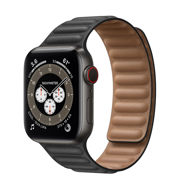 Apple Watch 6 40mm Space Black Titanium Case with Leather Link Black
