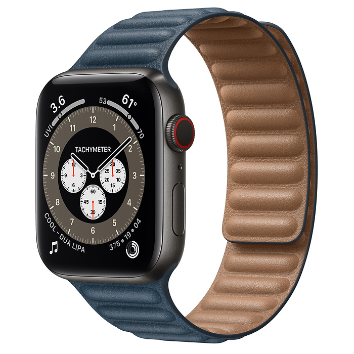 Apple Watch 6 44mm Space Black Titanium Case with Leather Link Baltic Blue