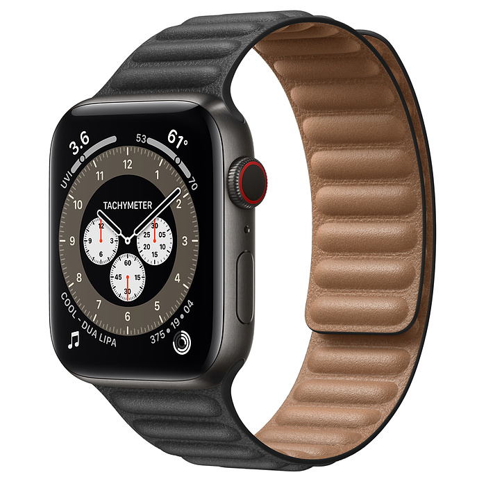 Apple Watch 6 44mm Space Black Titanium Case with Leather Link Black