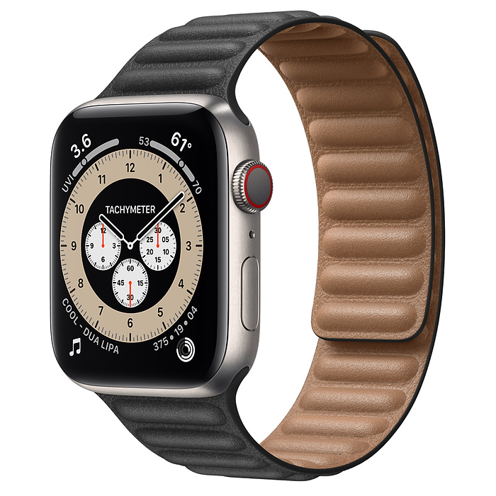 Apple Watch 6 44mm Titanium Case with Leather Link Black