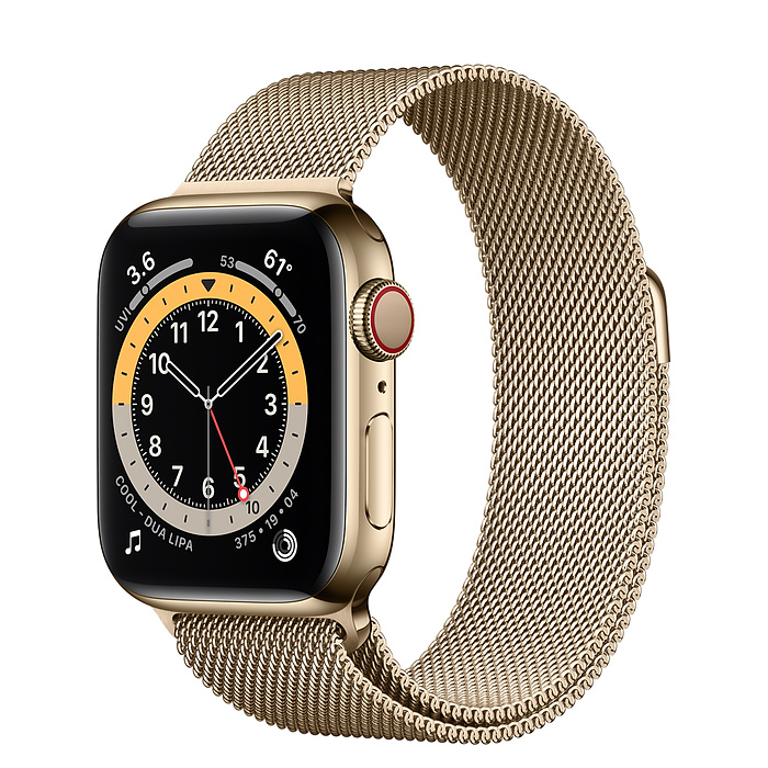 Apple Watch 6 40mm Gold Stainless Steel Case with Gold Milanese Loop
