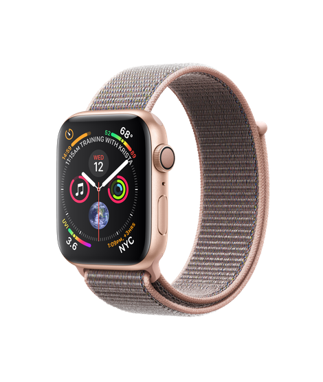 AW4 GPS 44MM Gold Aluminum Case with Pink Sand Sport Loop
