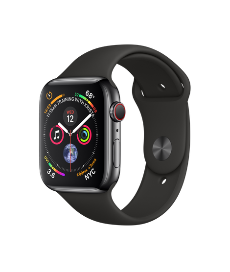 Apple Watch Series 4 44MM Black Stainless Steel / Black Sport Band - MTV52