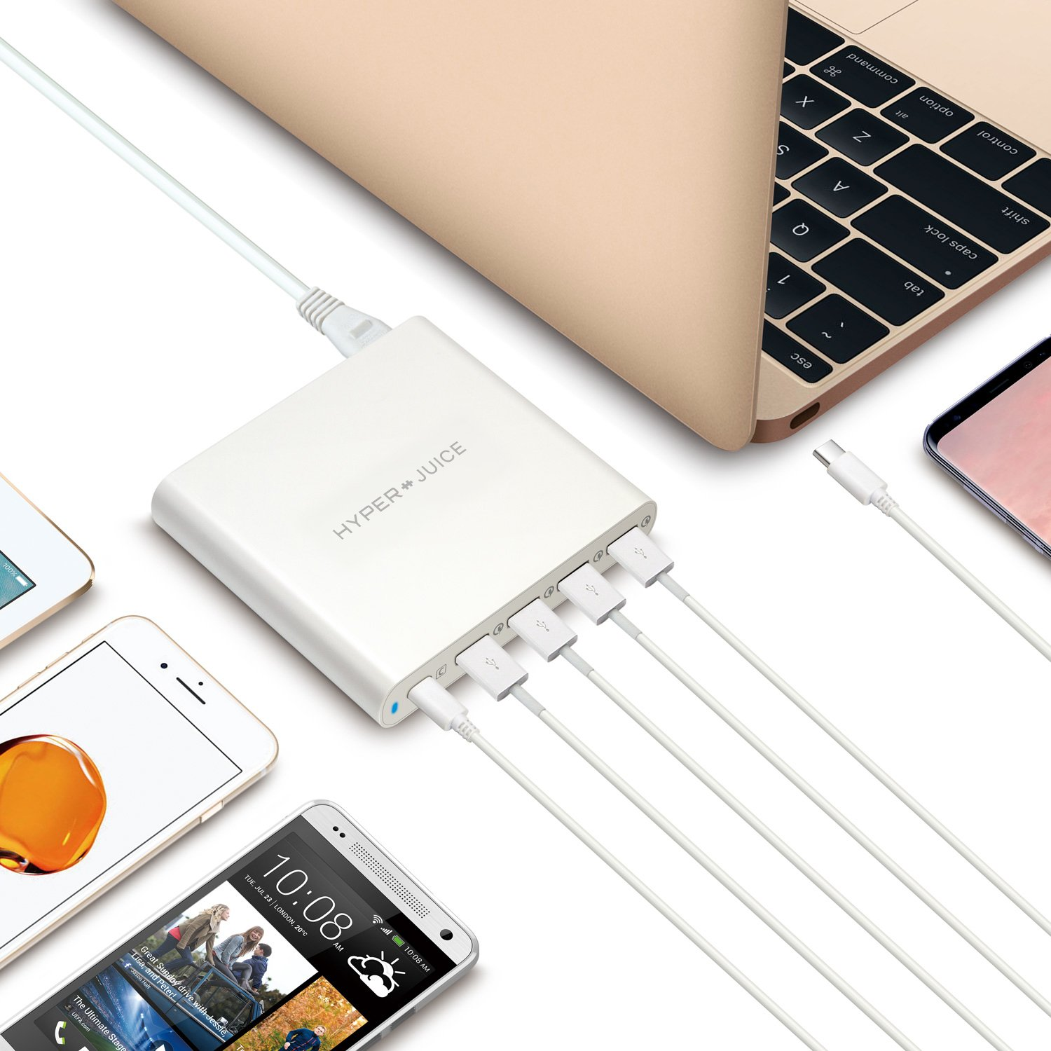 HyperJuice 80W USB-C Charger with 4 x QC 3.0 USB